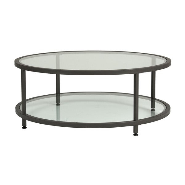 Shop Offex Camber Round Pewter Coffee Table With Clear Regarding Carbon Loft Heimlich Pewter Steel/glass Round Coffee Tables (View 18 of 25)
