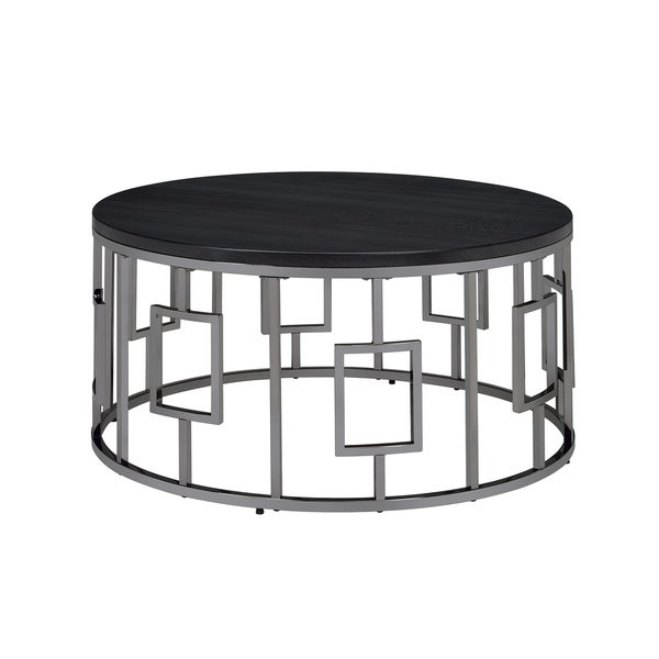 Shop Picket House Furnishings Kendall Black Metal Round With Regard To Tribeca Contemporary Distressed Silver And Smoke Grey Coffee Tables (View 14 of 25)