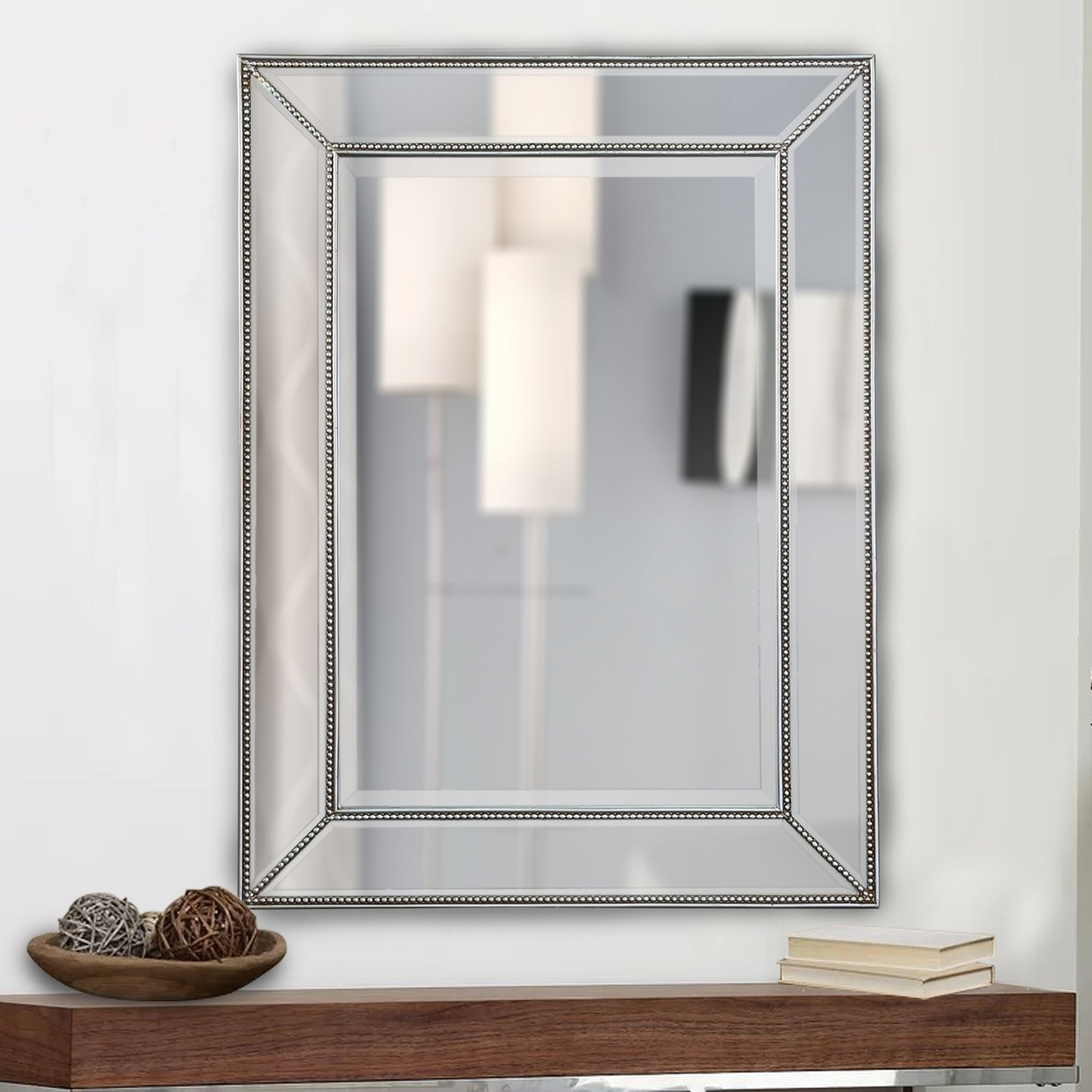 Shop Rectangle Silver Beaded Accent Wall Mirror – Free In Beaded Accent Wall Mirrors (View 5 of 20)