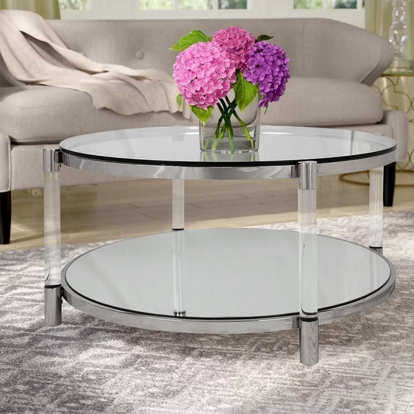 Shop Russ160 Mirrored Glass And Acrylic Round Cocktail Table With Elowen Round Glass Coffee Tables (View 12 of 25)