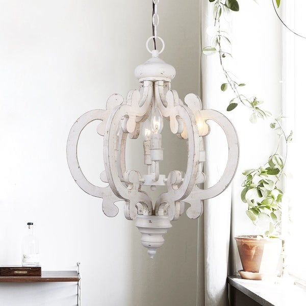 Shop Rustic 6 Light Distressed Wooden Chandelier – Free Pertaining To Donna 4 Light Globe Chandeliers (View 20 of 20)