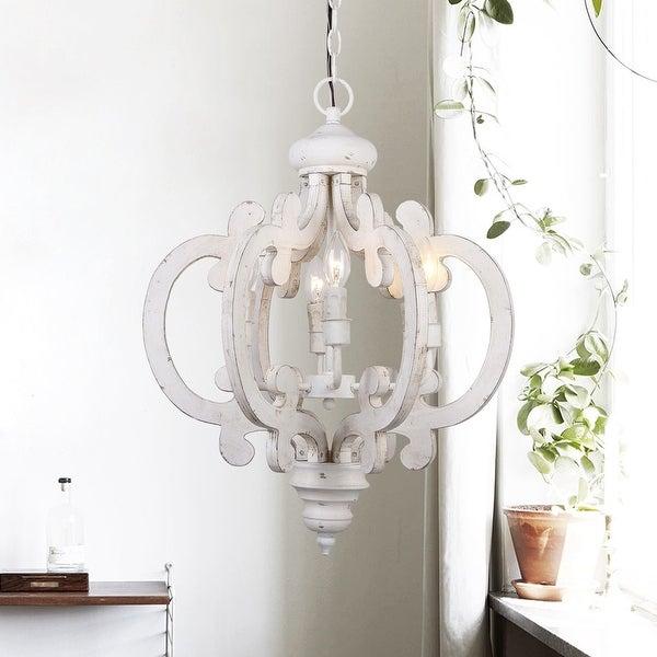 Shop Rustic 6 Light Distressed Wooden Chandelier – Free Regarding Donna 6 Light Globe Chandeliers (Image 20 of 20)