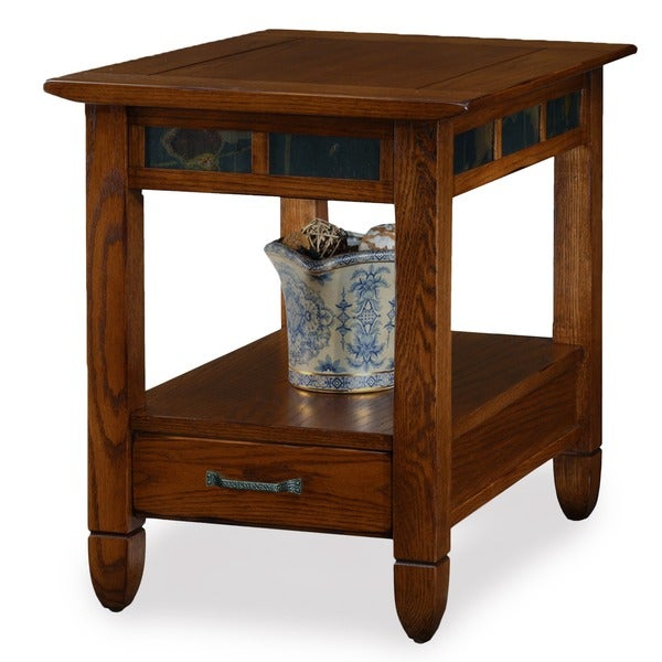 Shop Rustic Oak End Table – Free Shipping Today – Overstock Intended For Copper Grove Ixia Rustic Oak And Slate Tile Coffee Tables (View 14 of 25)
