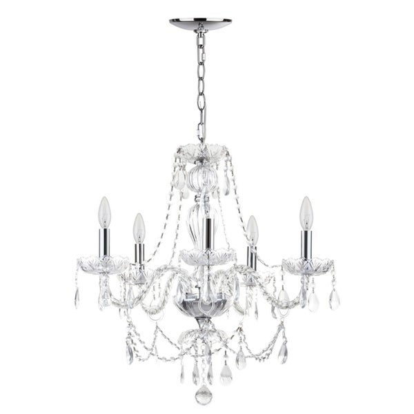 Shop Safavieh Lighting Jingle Adjustable 5 Light Chrome Inside Berger 5 Light Candle Style Chandeliers (View 15 of 20)