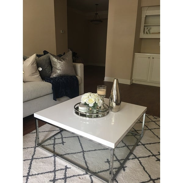 Shop Safavieh Malone White/ Chrome Coffee Table – (View 13 of 25)