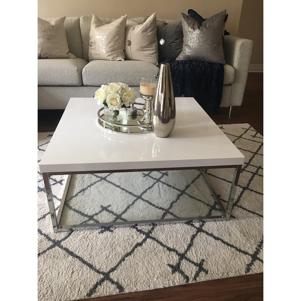 Shop Safavieh Malone White/ Chrome Coffee Table – (View 6 of 25)