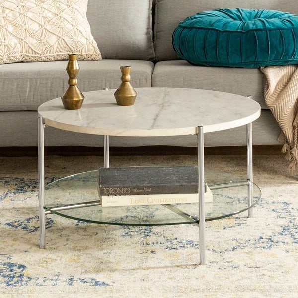 Shop Silver Orchid 32 Inch Ipsen Round Coffee Table, Modern With Silver Orchid Ipsen Contemporary Glass Top Coffee Tables (View 6 of 25)