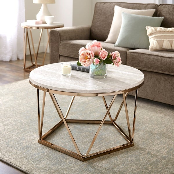 Shop Silver Orchid Henderson Faux Stone Goldtone Round Pertaining To Silver Orchid Henderson Faux Stone Silvertone Round Coffee Tables (View 2 of 25)