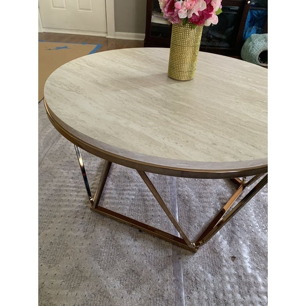 Shop Silver Orchid Henderson Faux Stone Goldtone Round With Silver Orchid Henderson Faux Stone Round End Tables (View 10 of 25)