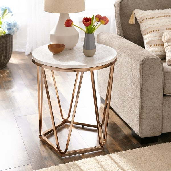 Shop Silver Orchid Henderson Faux Stone Round End Table – On Pertaining To Silver Orchid Henderson Faux Stone Round End Tables (View 2 of 25)