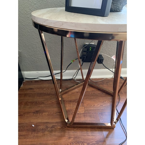 Shop Silver Orchid Henderson Faux Stone Round End Table – On Throughout Silver Orchid Henderson Faux Stone Round End Tables (View 7 of 25)