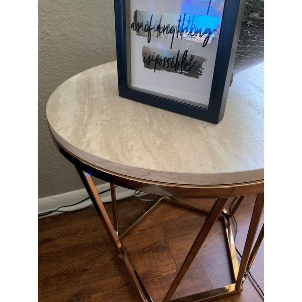 Shop Silver Orchid Henderson Faux Stone Round End Table – On With Silver Orchid Henderson Faux Stone Round End Tables (View 6 of 25)
