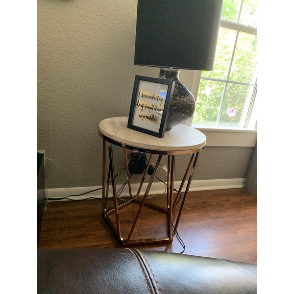 Shop Silver Orchid Henderson Faux Stone Round End Table – On Within Silver Orchid Henderson Faux Stone Round End Tables (View 8 of 25)