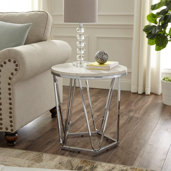 Shop Silver Orchid Henderson Faux Stone Round Side Table Regarding Silver Orchid Henderson Faux Stone Silvertone Round Coffee Tables (View 7 of 25)