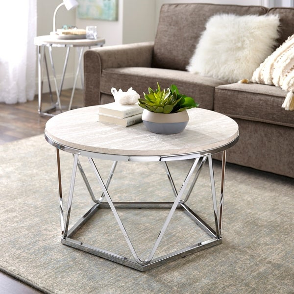 Shop Silver Orchid Henderson Faux Stone Silvertone Round Intended For Silver Orchid Henderson Faux Stone Silvertone Round Coffee Tables (View 1 of 25)