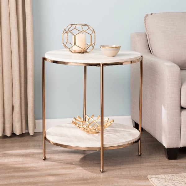 Shop Silver Orchid Henderson Round Faux Stone End Table – On Inside Silver Orchid Henderson Faux Stone Round End Tables (View 5 of 25)