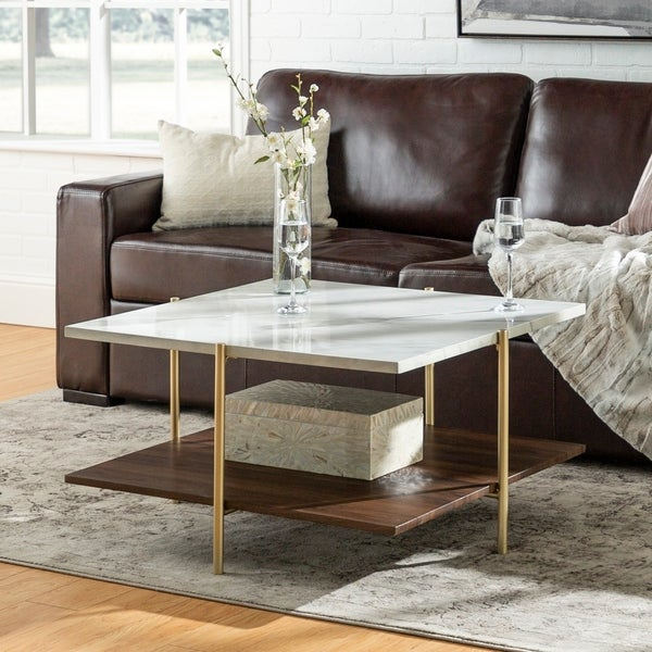 Shop Silver Orchid Ipsen 32 Inch Square Faux Marble Coffee Pertaining To Silver Orchid Ipsen Round Coffee Tables With X Base (Image 16 of 25)