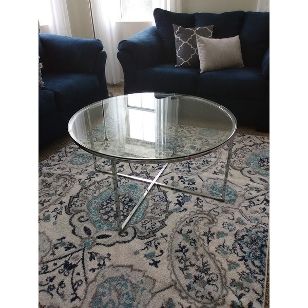 Shop Silver Orchid Ipsen 36 Inch Round Coffee Table With X For Silver Orchid Ipsen Round Coffee Tables With X Base (Image 17 of 25)