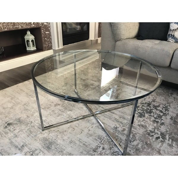 Shop Silver Orchid Ipsen 36 Inch Round Coffee Table With X Pertaining To Silver Orchid Ipsen Round Coffee Tables With X Base (Image 18 of 25)