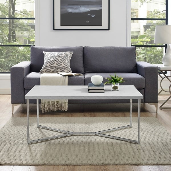 Shop Silver Orchid Ipsen 42 Inch Modern Y Base Coffee Table Inside Silver Orchid Ipsen Round Coffee Tables With X Base (Image 20 of 25)
