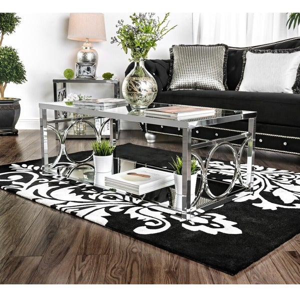 Featured Image of Silver Orchid Ipsen Contemporary Glass Top Coffee Tables