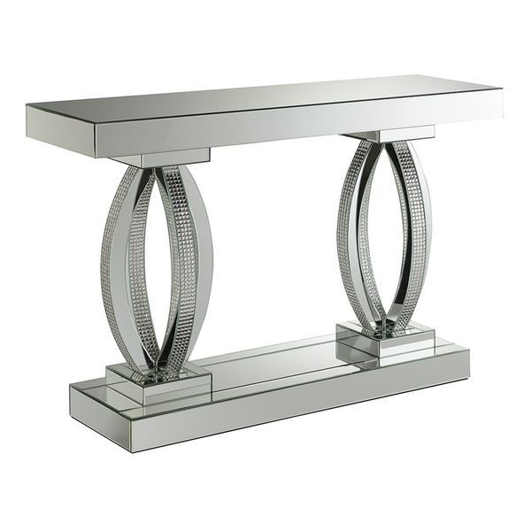 Shop Silver Orchid Ipsen Rectangular Sofa Table With Shelf Regarding Silver Orchid Ipsen Contemporary Glass Top Coffee Tables (View 11 of 25)