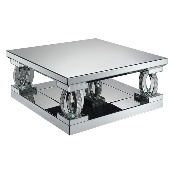 Shop Silver Orchid Ipsen Silver Mirror Square Coffee Table Throughout Silver Orchid Ipsen Contemporary Glass Top Coffee Tables (View 3 of 25)
