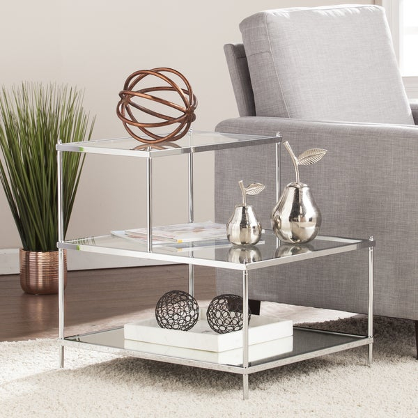 Shop Silver Orchid Olivia Glam Mirrored Accent Table Chrome With Silver Orchid Olivia Glam Mirrored Round Cocktail Tables (Image 25 of 50)