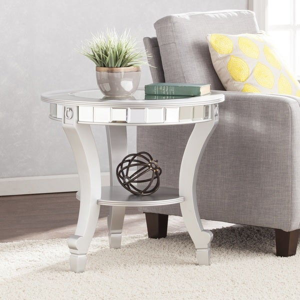 Shop Silver Orchid Olivia Glam Mirrored Round End Table With Silver Orchid Olivia Glam Mirrored Round Cocktail Tables (View 2 of 50)