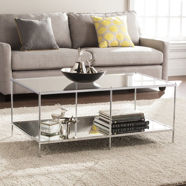 Shop Silver Orchid Olivia Mirrored Chrome Cocktail Table Within Silver Orchid Olivia Glam Mirrored Round Cocktail Tables (View 3 of 50)