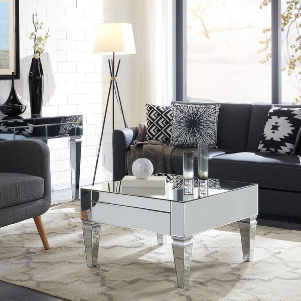 Shop Silver Orchid Olivia Mirrored With Matte Silver Pertaining To Silver Orchid Olivia Mirrored Coffee Cocktail Tables (Image 15 of 25)