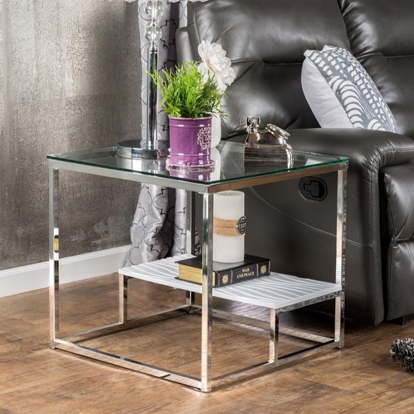 Shop Strick & Bolton Florence Chrome End Table – On Sale Intended For Strick & Bolton Florence Chrome Coffee Tables (Image 10 of 25)