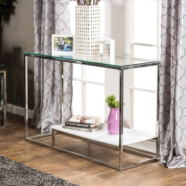 Shop Strick & Bolton Florence Chrome Sofa Table – Free For Strick & Bolton Florence Chrome Coffee Tables (Image 11 of 25)