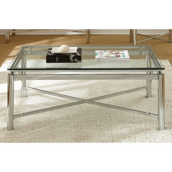 Shop Strick & Bolton Jules Chrome And Glass Coffee Table Inside Strick & Bolton Florence Chrome Coffee Tables (View 4 of 25)