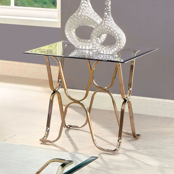 Shop Tellarie Contemporary Champagne End Tablefoa – On In Furniture Of America Tellarie Contemporary Chrome Coffee Tables (View 6 of 25)