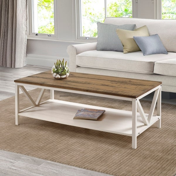 """Shop The Gray Barn 48"""" Distressed Coffee Table – 48 X 24 X Inside The Gray Barn O'quinn Weathered Bark And White Castered Cocktail Tables (View 9 of 25)"""