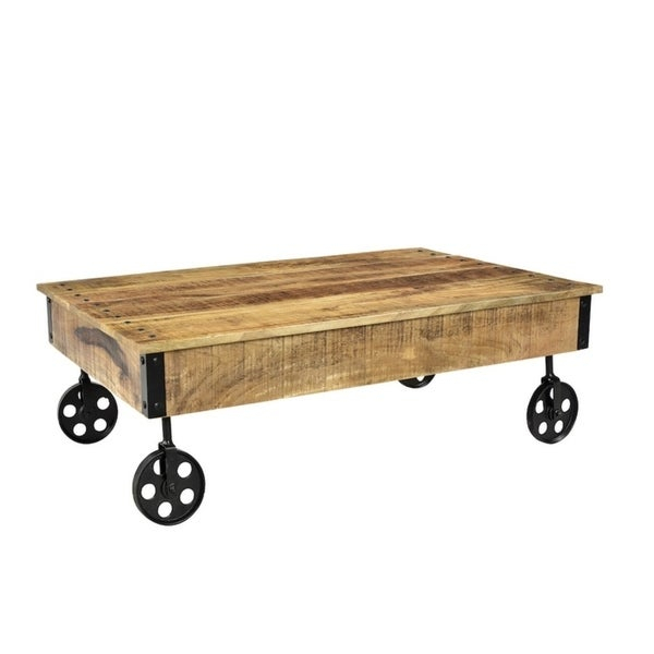 Shop Timbergirl Reclaimed Wood Industrial Cart Wheels Coffee With Regard To Montgomery Industrial Reclaimed Wood Coffee Tables With Casters (View 17 of 50)