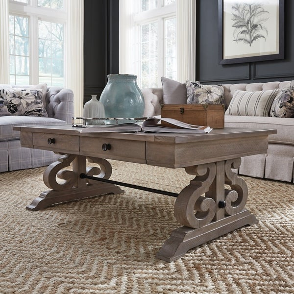Featured Image of Tinley Park Traditional Dove Tail Grey Coffee Tables