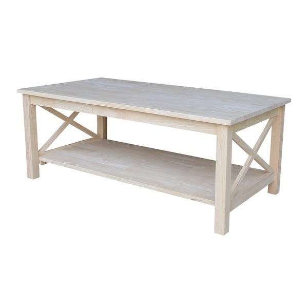 Shop Unfinished Solid Parawood Hampton Coffee Table – Free For Hampton Unfinished Solid Parawood Square Coffee Tables (Image 26 of 50)
