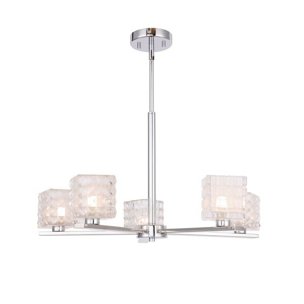 Shop Woodbridge 17315Chrle Claudia 5L Chandelier W/ Led – On Inside Hewitt 4 Light Square Chandeliers (View 16 of 20)