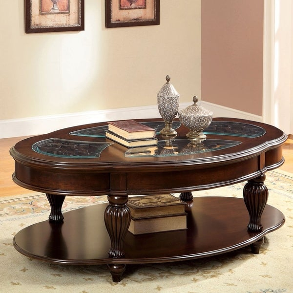 Featured Image of Furniture Of America Crescent Dark Cherry Glass Top Oval Coffee Tables