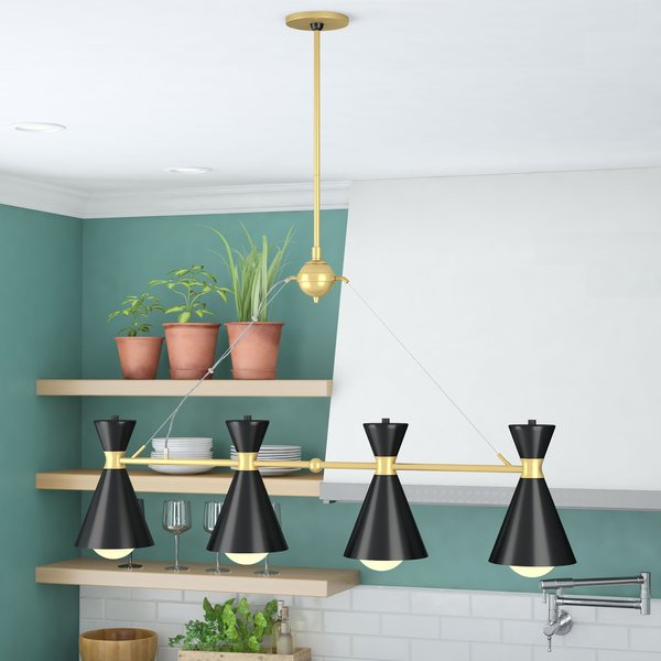 Silas 4 Light Kitchen Island Pendantmodern Rustic Interiors For Fennia 1 Light Single Cylinder Pendants (View 25 of 25)
