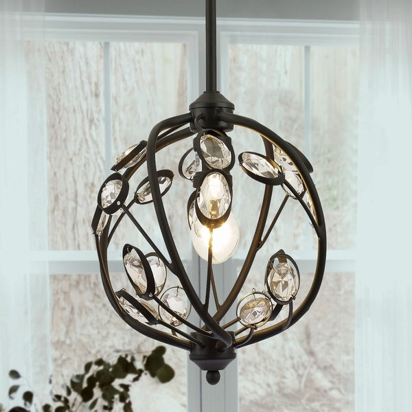 Silmin Oil Rubbed Bronze 1 Light Crystal Globe Pendant Lighting Inside 1 Light Geometric Globe Pendants (Image 24 of 25)