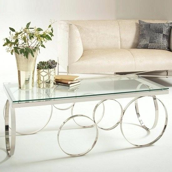 Silver And Glass Coffee Table – Clevergroup (View 18 of 25)