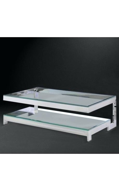 Silver And Glass Coffee Table – Clevergroup (View 20 of 25)