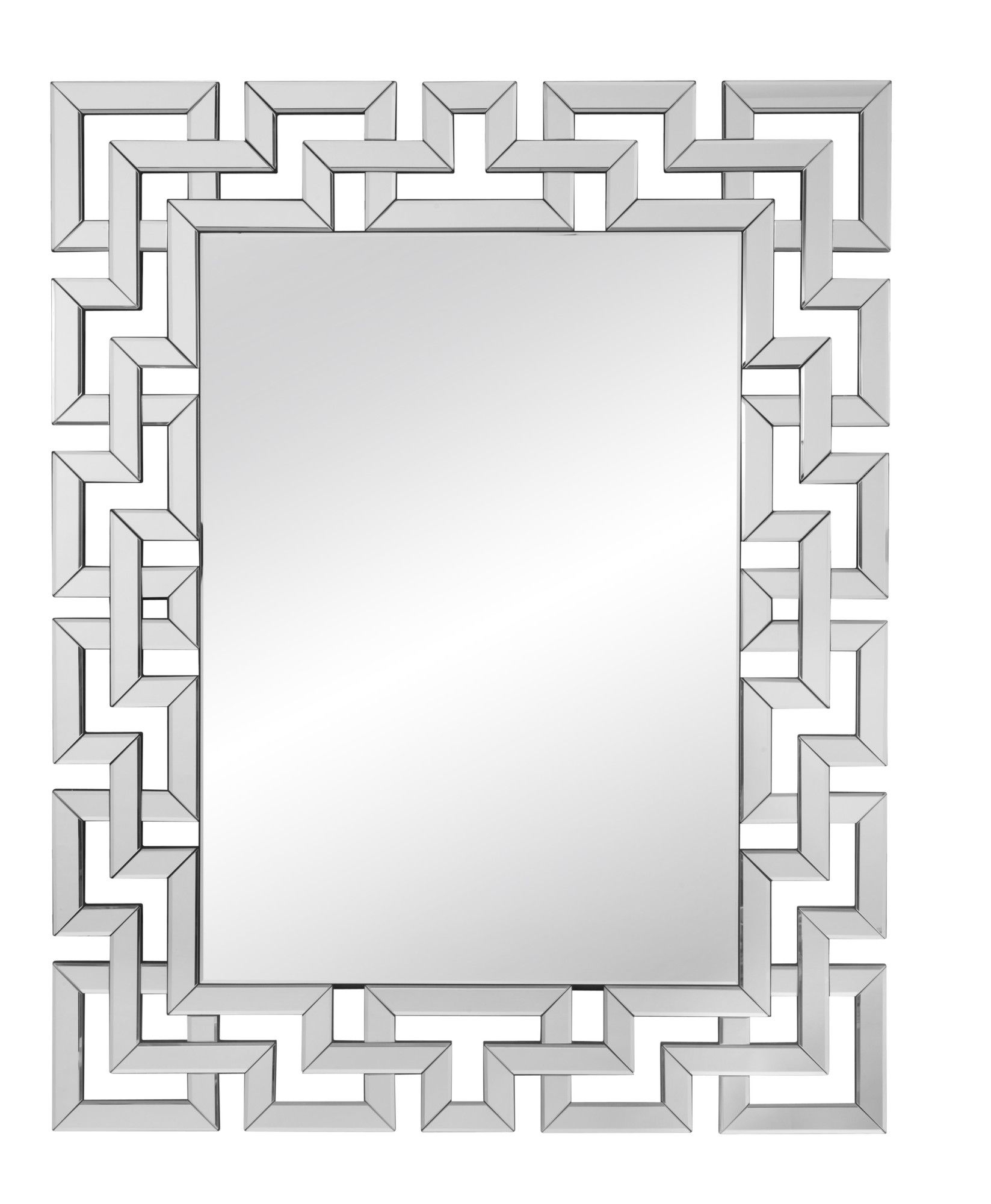 Silver Geometric Maze Wall Mirror (View 4 of 20)