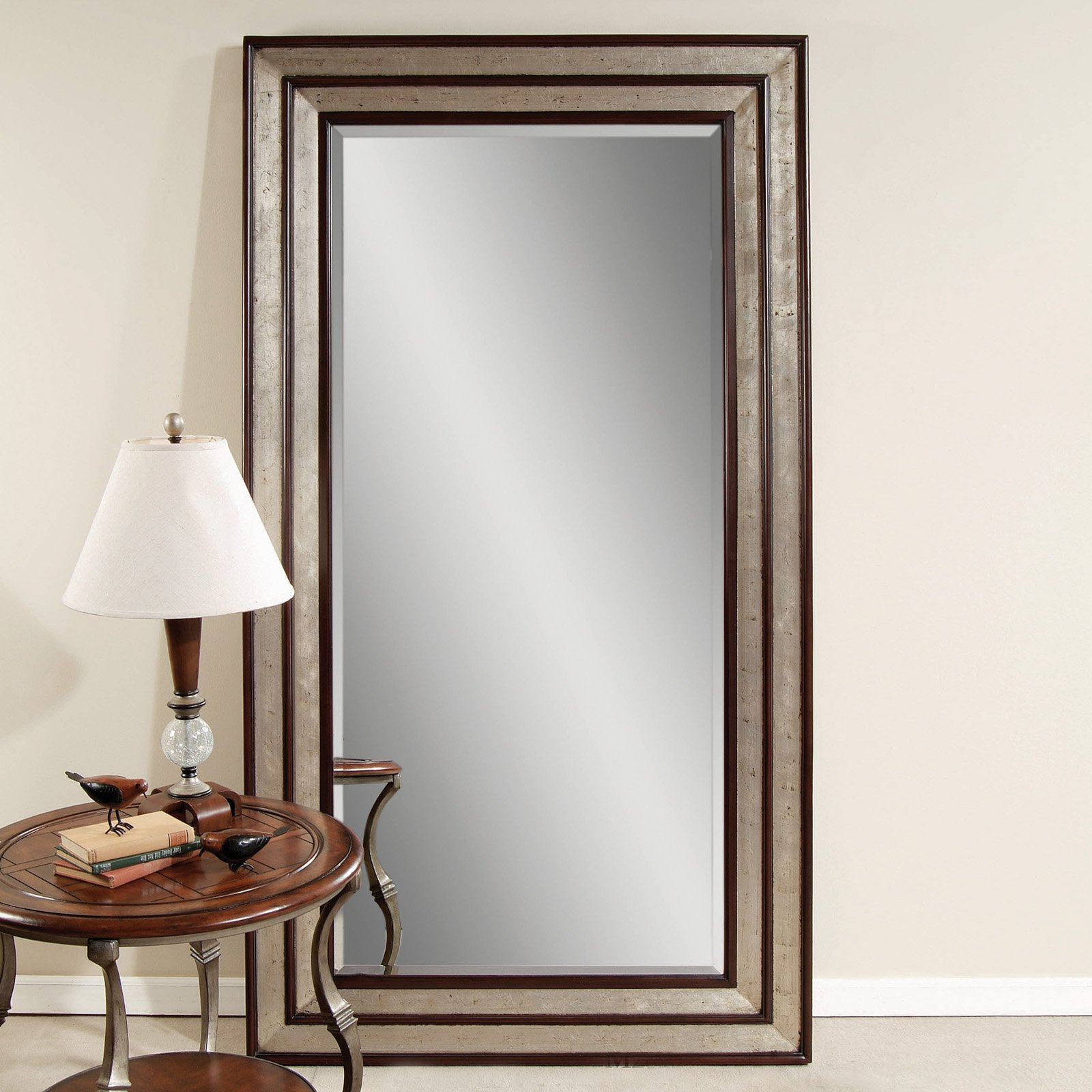 Silver Leaf Black Accent Floor Leaner Mirror W X H Fall Pertaining To Silver Frame Accent Mirrors (View 15 of 20)