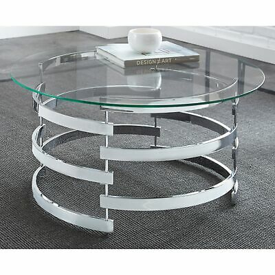 Silver Orchid Bardeen Round Coffee Table Clear | Ebay Throughout Silver Orchid Ipsen Contemporary Glass Top Coffee Tables (View 14 of 25)