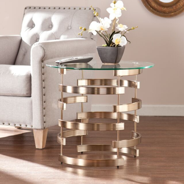 Silver Orchid Grant Side/ End Table With Silver Orchid Olivia Glam Mirrored Round Cocktail Tables (View 37 of 50)
