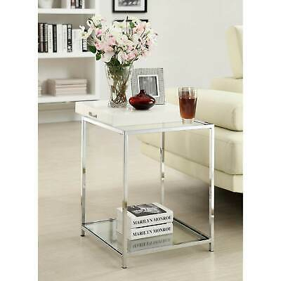 Silver Orchid Olivia Glam Mirrored End Table Chrome In Silver Orchid Olivia Glam Mirrored Round Cocktail Tables (View 26 of 50)